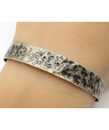 925 Sterling Silver - Vintage Minimal Hammered Detail Cuff Bracelet - B2845 - $55.38