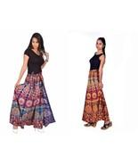 2 pc Hippie Bohemian Maxi Skirt 100% Cotton Boho long Wrap Block Print M... - $29.85