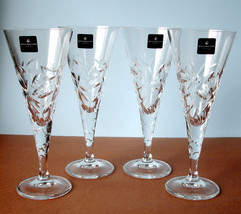 Royal Doulton Central Park Wine SET/4 Crystal Glasses Leaf Cuts New Boxed - $68.90