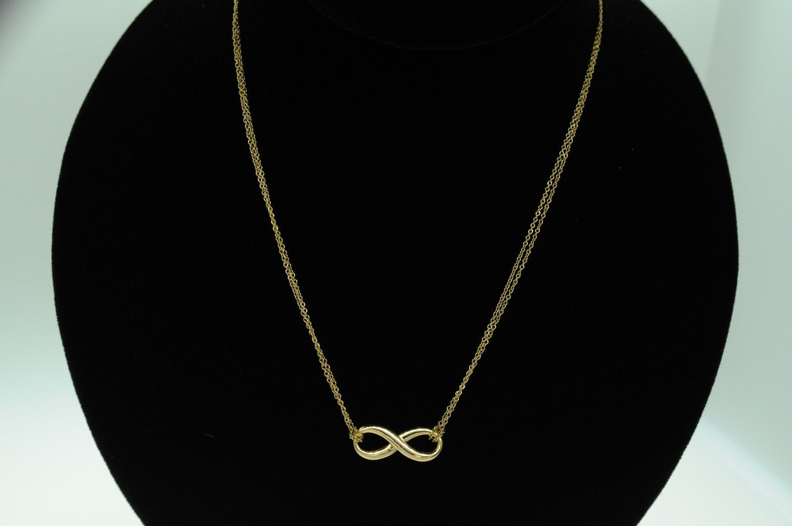 """TIFFANY & CO. 18K Yellow Gold Infinity Pendant on 16"""" Double Chain (17""""  R-$900)"""