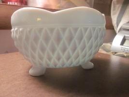 Vintage Milk Glass Bowl Indiana Footed White Scalloped Edge Diamond Patt... - $7.28