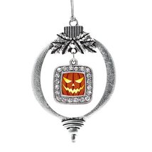Inspired Silver Grinning Pumpkin Classic Holiday Decoration Christmas Tree Ornam - $14.69