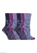6 Paar Damen Sockshop Sanften griff socken 4-8 uk,37-42 Floral Lila GG57 - $16.24