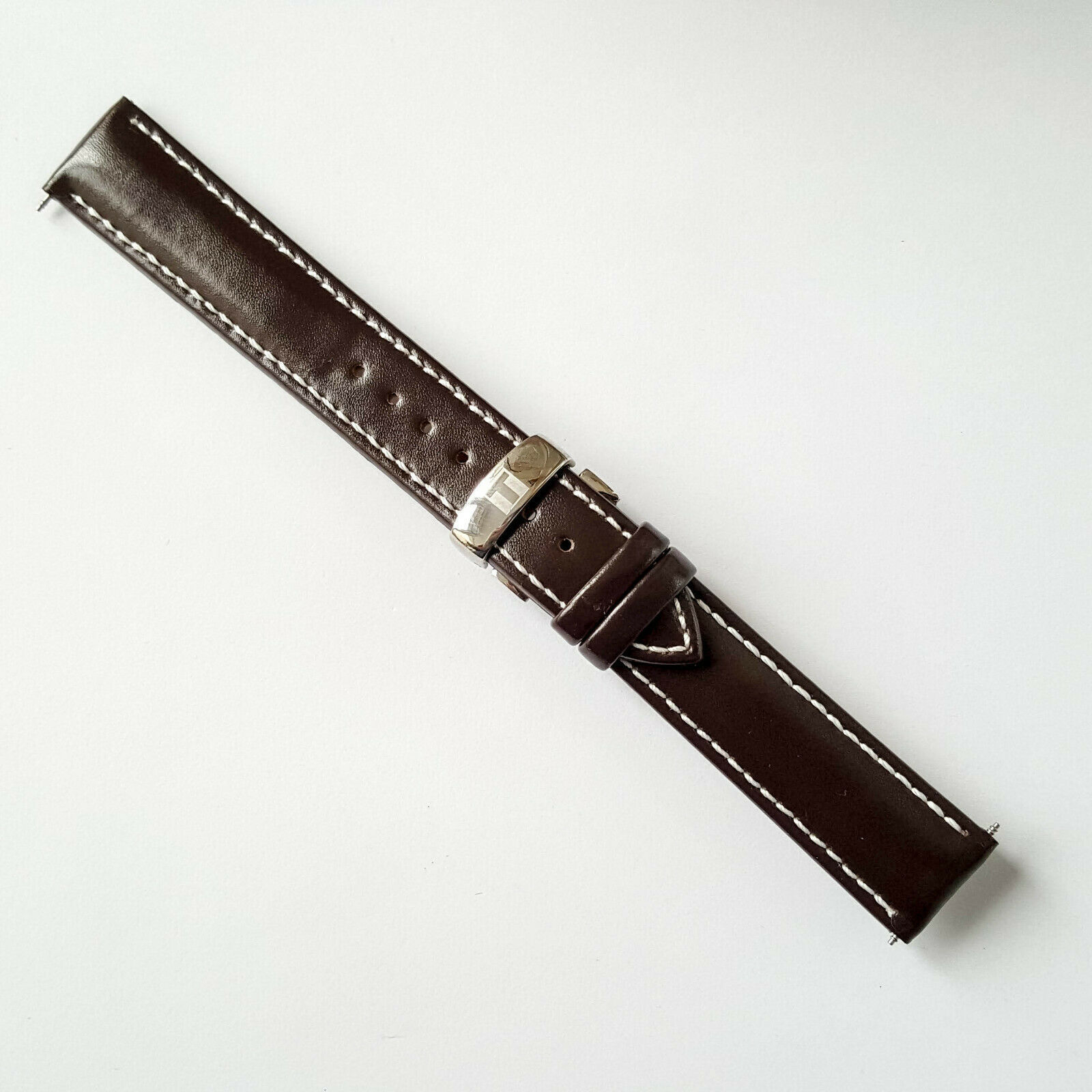 Primary image for Brown Leather Strap Watchband for Tissot PRS200 T461 T067417A 19mm white line