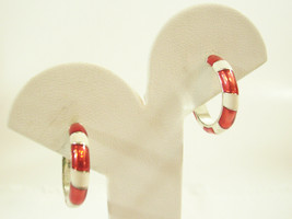 Candy Cane Stripe Red White Hoop Earrings Pierced Silver Plate Christmas  - $14.80