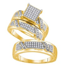 Yellow-tone Sterling Silver His Hers Diamond Cluster Matching Wedding Ring Set - $266.59