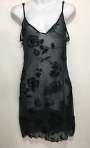 Victoria's Secret Womens M Black Floral Sheer Spaghetti Strap Short Nightie Slip - $27.93