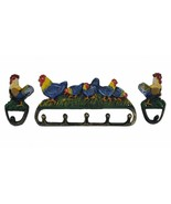 Rooster & Chickens Wall Hook 3 Pc Set Colorful Painted Cast Iron Country... - $25.73