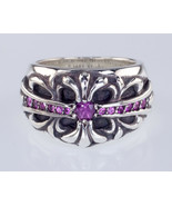 Chrome Hearts Sterling Silver Pink Sapphire Maltese Cross Ring Size 6 - $1,782.00