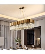 Modern Crystal Luxury Lighting Fixture Rectangle Brushed Gold Hanging Lamps - $1,499.99+