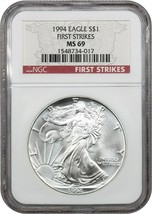 1994 Silver Eagle $1 NGC MS69 (First Strike) - American Eagle Silver Dollar ASE - $349.20
