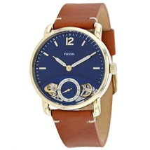New! Gents Fossil Commuter Brown Leather Strap Blue Dial ME1167 Mens Watch - $102.13
