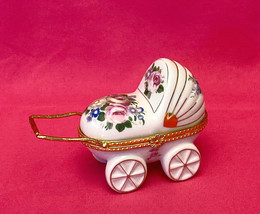 Vintage porcelain trinket box baby buggy carriage hinged lid flowers roses - $8.00