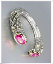 STUNNING Designer Inspired Pink Topaz CZ Crystals Balinese Cuff Bracelet - $39.99