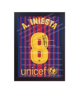 Andres Iniesta t shirt Barcelona signed printed on CANVAS 100% COTTON Fr... - $20.46