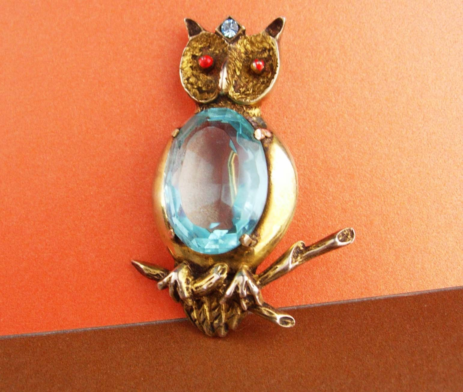 huge sterling pin - blue Jelly belly Owl Brooch - vintage bird pin Figural fine