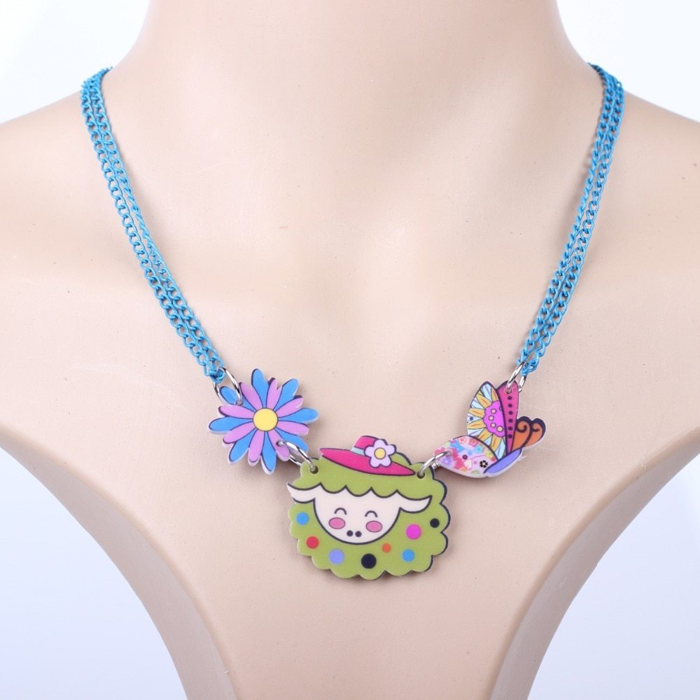 sheep necklace pendant acrylic pattern 2016 news accessories spring summer cute  image 5