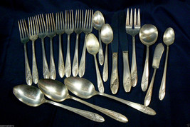 VTG mix lot of 20 pc. Queen Bess Tudor Silver plate Oneida Flatware & Se... - $72.86