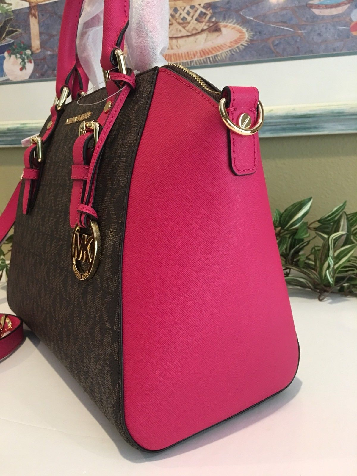 7817a5364ddc MICHAEL KORS CIARA LARGE ZIP SATCHEL BAG TOTE BROWN PINK SIGNATURE LEATHER  $448