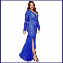 Queen Plus Size Sapphire Blue Long Leg Slit Long Sleeve Floral Lace Evening Gown