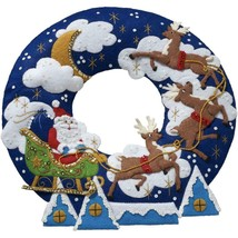 Bucilla Over the Rooftop Santa Reindeer Christmas Wreath Felt Craft Kit ... - $58.95