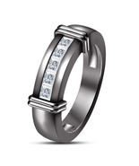 Princess Cut Diamond Mens Wedding Anniversary Band Ring Black Finish 925... - $98.99