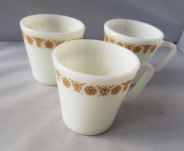Pyrex Corelle Gold Butterfly Coffee Cups Mugs Tea Cup Set of 3 Corning Home - $21.19