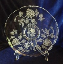 "Heisey Rose crystal large sandwich plate, tort 14"" etched Waverly blank - $34.64"