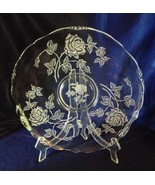 """Heisey Rose crystal large sandwich plate, tort 14"""" etched Waverly blank - $34.64"""