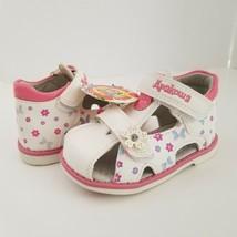 New Apakowa Girls 5.5 Sandals Double Adj Straps Closed Toe White Pink - $15.00