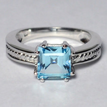 Natural Asscher Blue Topaz Promise Solitaire Ring Womens Sterling Silver... - $59.00