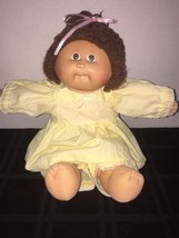 "1985 Cabbage Patch Kids 16"" Doll Brunette One Tooth P Factory Yellow Dre... - $17.81"