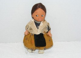 "VINTAGE EASTERN EUROPEAN PEASANT WOMAN 7"" RUBBER DOLL WITH  REAL HAIR GUC - $24.99"