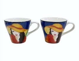 Lot of 2 Sango Cafe Paris #4914 Porcelain 9oz Vivid Colors Ladies w/Hats... - $19.59