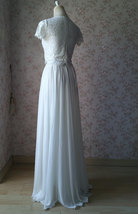 WHITE Split Maxi Skirt High Split White Chiffon Skirt Wedding Chiffon Skirt image 4