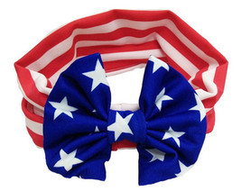 NEW Patriotic 4th of July US Flag Bow Girls Headband Hairband Wrap - €3,37 EUR