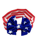 NEW Patriotic 4th of July US Flag Bow Girls Headband Hairband Wrap - £3.09 GBP