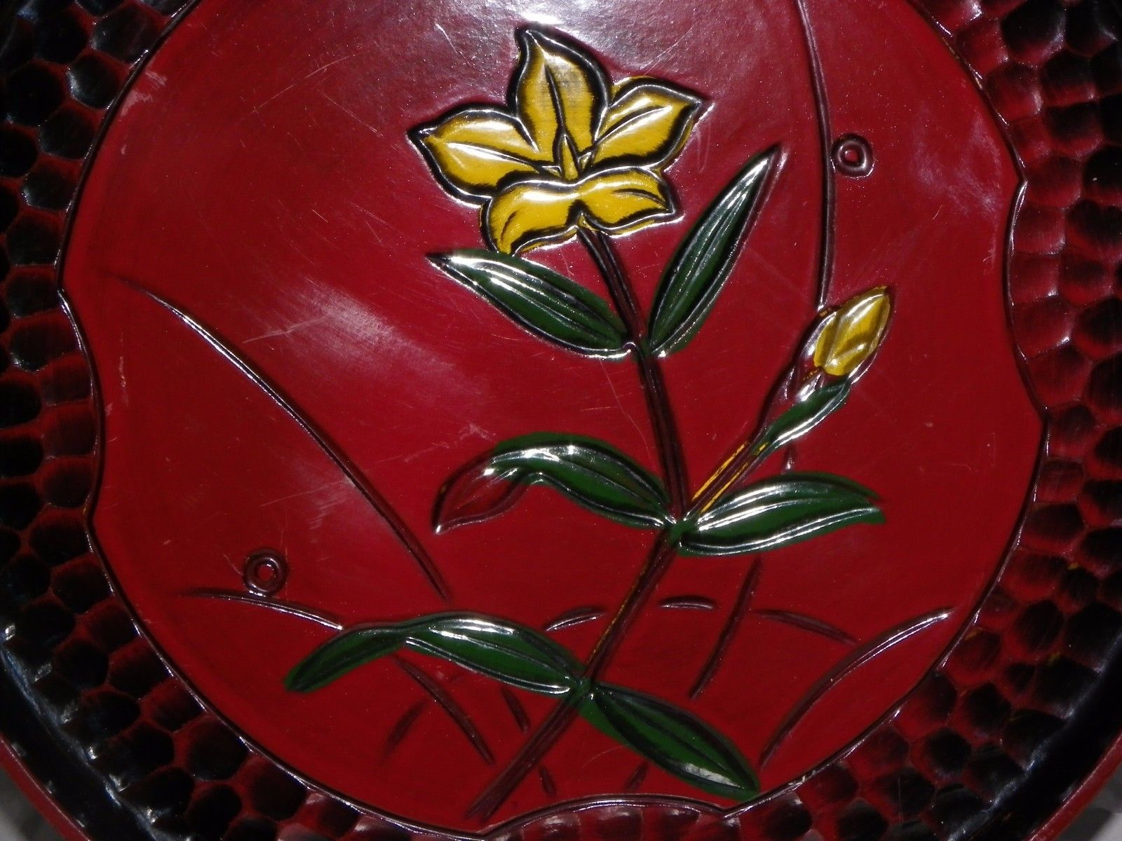 Made in Japan Serving Tray Flowered with Reverse Cobblestone Boarder. 9 1/4""