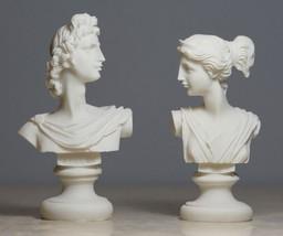 Set Twins Apollo and Artemis Greek God Bust Alabaster Statue Sculpture 4... - $28.81