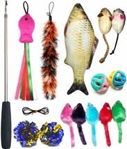 Cat Toys 14 Pcs Cat Nip Mice, Wand, Feather, Balls,  Fish, and More Mice - £20.53 GBP