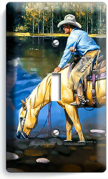 COUNTRY WESTERN COWBOY HORSE LAKE MOUNTAINS 1 GANG LIGHT SWITCH WALL PLATE DECOR
