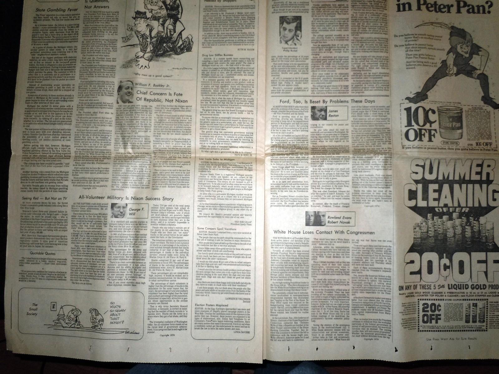 Vintage The Grand Rapids Press Nixon's Supporters Falling & Comics Aug 6 1974 image 8