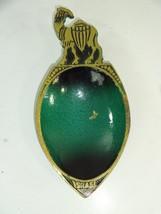 "VTG Brass Camel Trinket Dish Pin Tray Ashtray w Green Made in Israel 5.5"" x 2.5"" - $14.58"