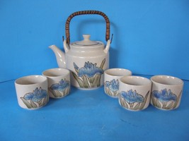 VINTAGE OTAGIRI CERAMIC TEA SET WITH RATTAN HANDLE AND 5 CUPS MADE IN JAPAN - $29.69