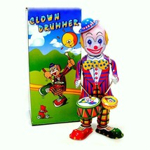 TIN TOY DRUMMING CLOWN Wind Up Drums Collectible Vintage Style NIB Circu... - $20.88