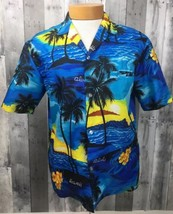 VTG Made Hawaii Hawaiian Shirt Aloha Tiki Tropical Royal Creation M Scene - $23.33