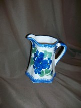 CASH FAMILY ART POTTERY HAND PAINTED ERWIN TENNESSEE CREAMER PITCHER BLU... - $17.81