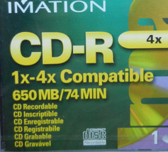 IMATION CD-R 1x-4x Compatible 650 MB / 74 MIN Compact Disc Recordable NE... - $23.36