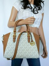 NWT MICHAEL KORS CIARA LARGE SATCHEL TOP ZIP SHOULDER BAG MK VANILLA ACORN - $168.29