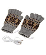 5V 1.5m USB Warmer Gloves Removable Heated Half Finger Gloves - ₨720.59 INR